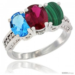 14K White Gold Natural Swiss Blue Topaz, Ruby & Malachite Ring 3-Stone 7x5 mm Oval Diamond Accent