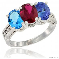 14K White Gold Natural Swiss Blue Topaz, Ruby & Tanzanite Ring 3-Stone 7x5 mm Oval Diamond Accent