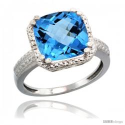 14k White Gold Diamond Swiss Blue Topaz Ring 5.94 ct Checkerboard Cushion 11 mm Stone 1/2 in wide