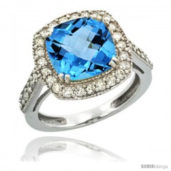14k White Gold Diamond Halo Swiss Blue Topaz Ring Checkerboard Cushion 9 mm 2.4 ct 1/2 in wide