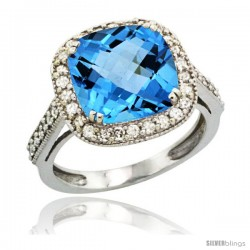 14k White Gold Diamond Halo Swiss Blue Topaz Ring Cushion Shape 10 mm 4.5 ct 1/2 in wide