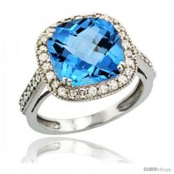 14k White Gold Diamond Halo Swiss Blue Topaz Ring Cushion Shape 10 mm 4.5 ct 1/2 in wide