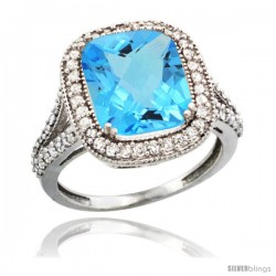 14k White Gold Diamond Halo Swiss Blue Topaz Ring Checkerboard Cushion 12x10 4.8 ct 3/4 in wide
