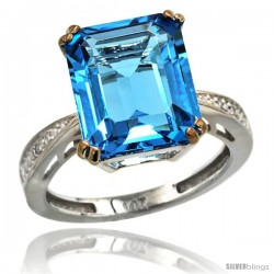 14k White Gold Diamond Swiss Blue Topaz Ring 5.83 ct Emerald Shape 12x10 Stone 1/2 in wide -Style Cw404149