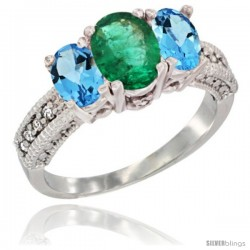 14k White Gold Ladies Oval Natural Emerald 3-Stone Ring with Swiss Blue Topaz Sides Diamond Accent