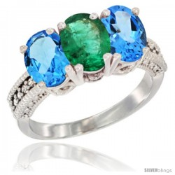 14K White Gold Natural Emerald & Swiss Blue Topaz Sides Ring 3-Stone 7x5 mm Oval Diamond Accent