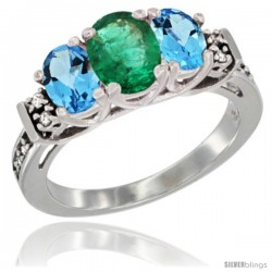 14K White Gold Natural Emerald & Swiss Blue Topaz Ring 3-Stone Oval with Diamond Accent
