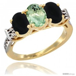 10K Yellow Gold Natural Green Amethyst & Black Onyx Sides Ring 3-Stone Oval 7x5 mm Diamond Accent