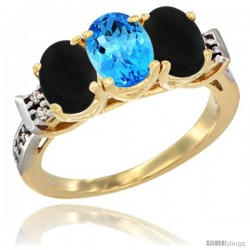 10K Yellow Gold Natural Swiss Blue Topaz & Black Onyx Sides Ring 3-Stone Oval 7x5 mm Diamond Accent