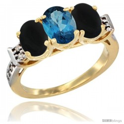 10K Yellow Gold Natural London Blue Topaz & Black Onyx Sides Ring 3-Stone Oval 7x5 mm Diamond Accent