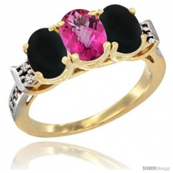 10K Yellow Gold Natural Pink Topaz & Black Onyx Sides Ring 3-Stone Oval 7x5 mm Diamond Accent