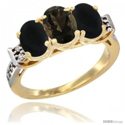 10K Yellow Gold Natural Smoky Topaz & Black Onyx Sides Ring 3-Stone Oval 7x5 mm Diamond Accent