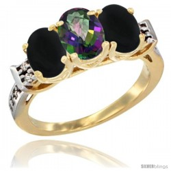 10K Yellow Gold Natural Mystic Topaz & Black Onyx Sides Ring 3-Stone Oval 7x5 mm Diamond Accent