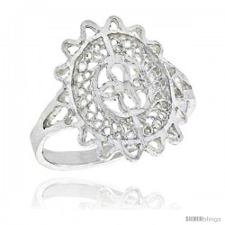 Sterling Silver Oval-shaped Filigree Ring, 3/4 in -Style Fr459