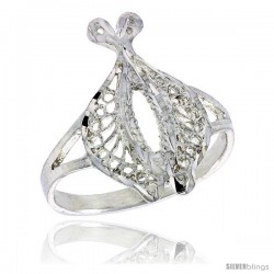 Sterling Silver Double Dolphin Filigree Ring, 3/4 in