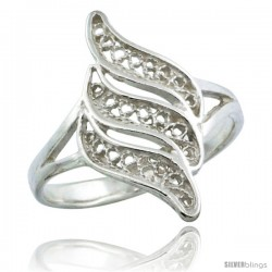 Sterling Silver Triple Swirl Filigree Ring, 3/4 in
