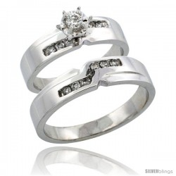 10k White Gold 2-Piece Diamond Ring Band Set w/ Rhodium Accent ( Engagement Ring & Man's Wedding Band ), w/ 0.31 Carat