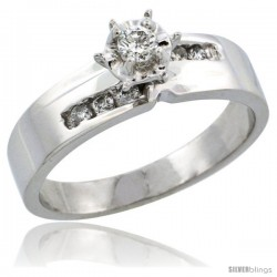 10k White Gold Diamond Engagement Ring w/ 0.18 Carat Brilliant Cut Diamonds, 3/16 in. (5mm) wide