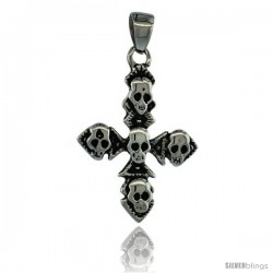 Surgical Steel Multiple Skulls on Cross Pendant 1 3/8 in (36 mm) tall, comes w/ 30 in Chain