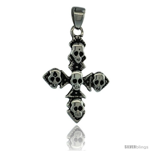 https://www.silverblings.com/3070-thickbox_default/surgical-steel-multiple-skulls-on-cross-pendant-1-3-8-in-36-mm-tall-comes-w-30-in-chain.jpg