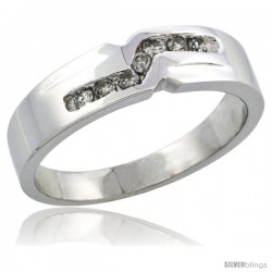 10k White Gold Ladies' Diamond Ring Band w/ 0.13 Carat Brilliant Cut Diamonds, 3/16 in. (5mm) wide