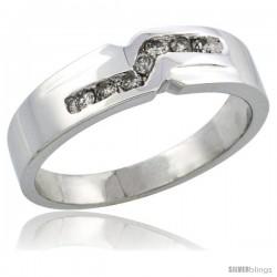 10k White Gold Ladies' Diamond Ring Band w/ 0.13 Carat Brilliant Cut Diamonds, 3/16 in. (5mm) wide