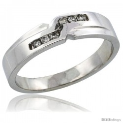 10k White Gold Men's Diamond Ring Band w/ 0.13 Carat Brilliant Cut Diamonds, 3/16 in. (5mm) wide