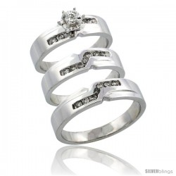 10k White Gold 3-Piece Trio His (5mm) & Hers (5mm) Diamond Wedding Ring Band Set w/ 0.44 Carat Brilliant Cut Diamonds