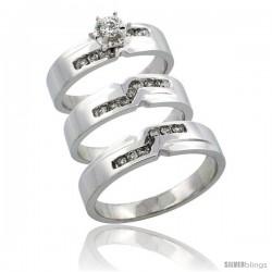 10k White Gold 3-Piece Trio His (5mm) & Hers (5mm) Diamond Wedding Ring Band Set w/ 0.44 Carat Brilliant Cut Diamonds