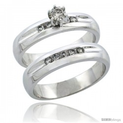 10k White Gold 2-Piece Diamond Engagement Ring Band Set w/ 0.35 Carat Brilliant Cut Diamonds, 3/16 in. (4.5mm) wide