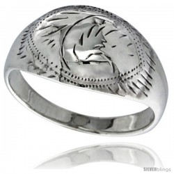 Sterling Silver Hand Engraved Dome Ring 7/16 in wide