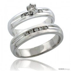 10k White Gold 2-Piece Diamond Ring Band Set w/ Rhodium Accent ( Engagement Ring & Man's Wedding Band ), w/ 0.35 Carat
