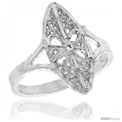 Sterling Silver Navette-shaped Floral Filigree Ring, 3/4 in