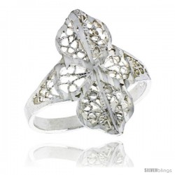 Sterling Silver Filigree Clover Ring, 3/4 in