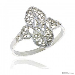 Sterling Silver Filigree Clover Ring, 3/4 in -Style Fr468