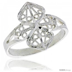 Sterling Silver Filigree Clover Ring, 3/4 in -Style Fr469
