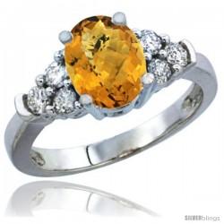 10K White Gold Natural Whisky Quartz Ring Oval 9x7 Stone Diamond Accent