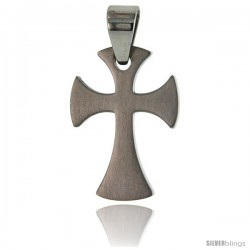 Stainless Steel Cross Pendant 1 in tall, w/ 30 in Chain -Style Pss6