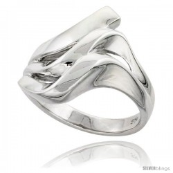 Sterling Silver Designer Domed Wave Ring Flawless finish 3/4 in wide