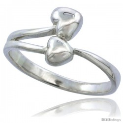 Sterling Silver Double Heart Ring Flawless finish 1/2 in wide
