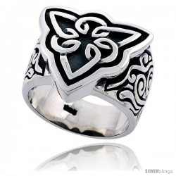 Sterling Silver Gent's Triquetra Celtic Knot Ring Flawless Finish 3/4 in wide