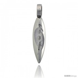 Stainless Steel Surfboard Pendant w/ Tribal Design, 1 3/4 in (44 mm) tall, w/ 30 in Chain