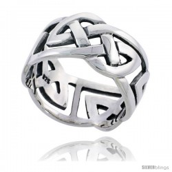 Sterling Silver Gent's Celtic Knot Wedding Band Ring Flawless Finish 1/2 in wide