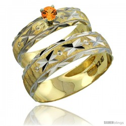 10k Gold 2-Piece 0.25 Carat Orange Sapphire Ring Set (Engagement Ring & Man's Wedding Band) Diamond-cut Pattern -Style 10y506em