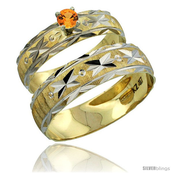 https://www.silverblings.com/30793-thickbox_default/10k-gold-2-piece-0-25-carat-orange-sapphire-ring-set-engagement-ring-mans-wedding-band-diamond-cut-pattern-style-10y506em.jpg