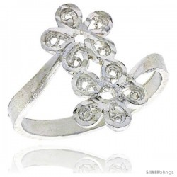 Sterling Silver Double Flower Filigree Ring, 1/2 in