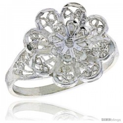 Sterling Silver Flower Filigree Ring, 1/2 in