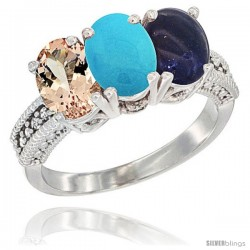 10K White Gold Natural Morganite, Turquoise & Lapis Ring 3-Stone Oval 7x5 mm Diamond Accent