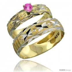 10k Gold 2-Piece 0.25 Carat Pink Sapphire Ring Set (Engagement Ring & Man's Wedding Band) Diamond-cut Pattern -Style 10y506em