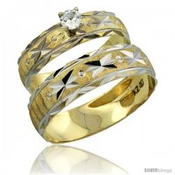 10k Gold 2-Piece 0.25 Carat White Sapphire Ring Set (Engagement Ring & Man's Wedding Band) Diamond-cut Pattern -Style 10y506em